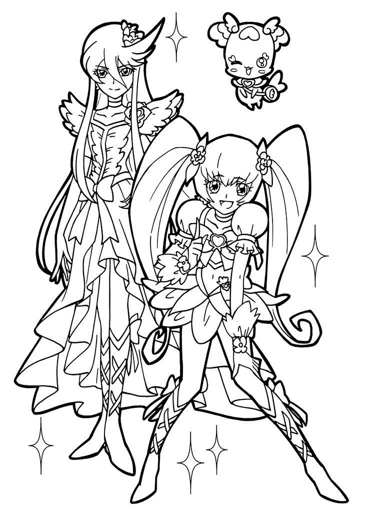Nice Girl From Pretty Cure Coloring Pages For Kids Printable Free