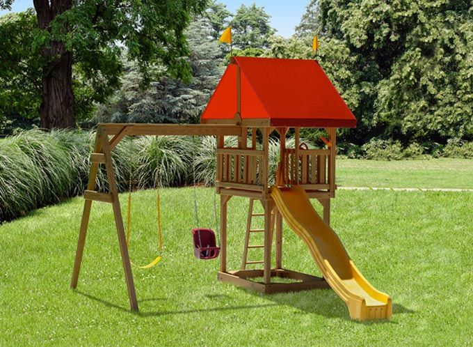 7 best backyard playsets for kids images on pinterest for Small wooden swing sets