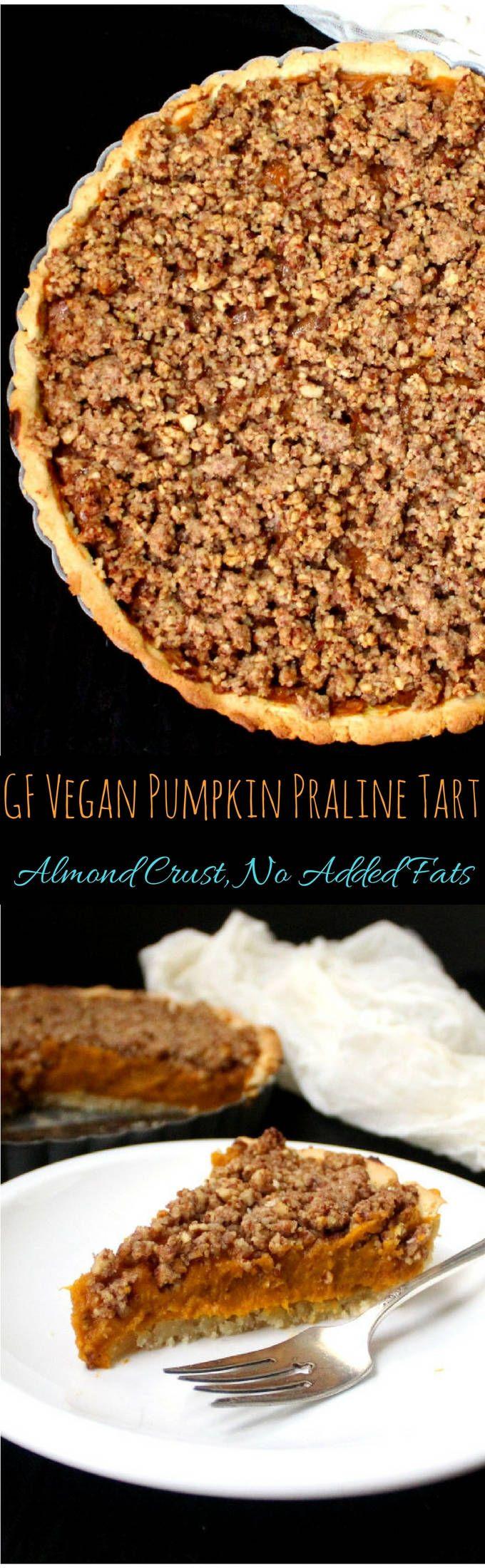 Vegan Pumpkin Praline Tart, gluten-free with no added fats. HolyCowVegan.net