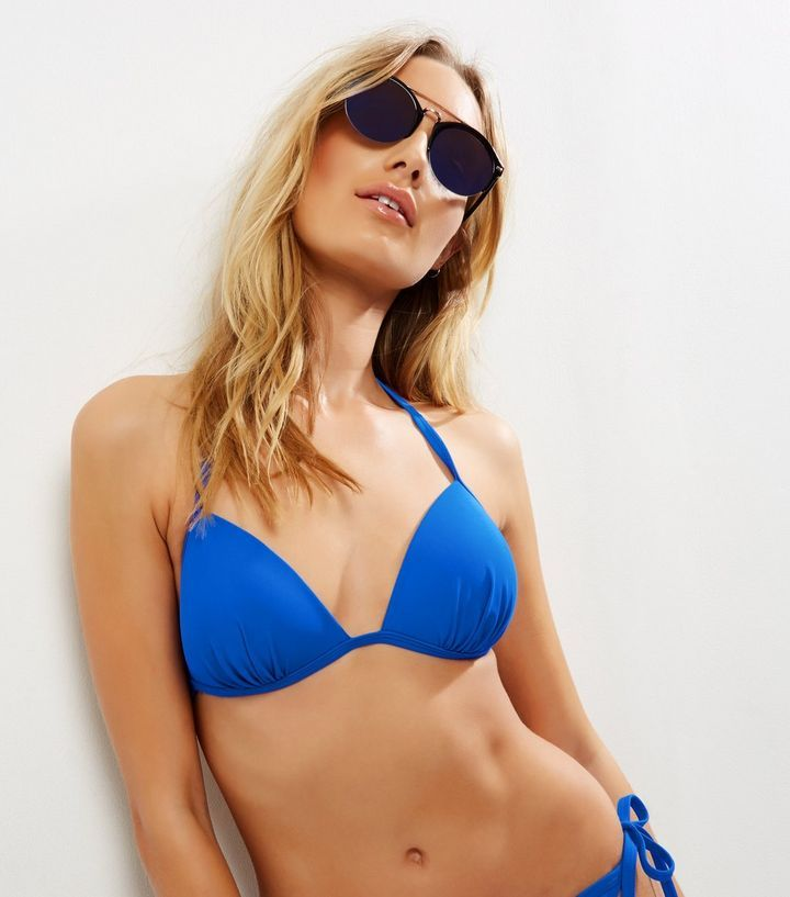 Haut de bikini triangle bleu avec bonnets préformés | New Look