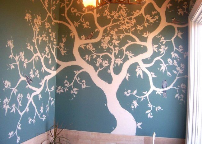 Stylistic Bathroom Tree mural idea as seen on www.findamuralist.com - want to try in bath with hooks for towels