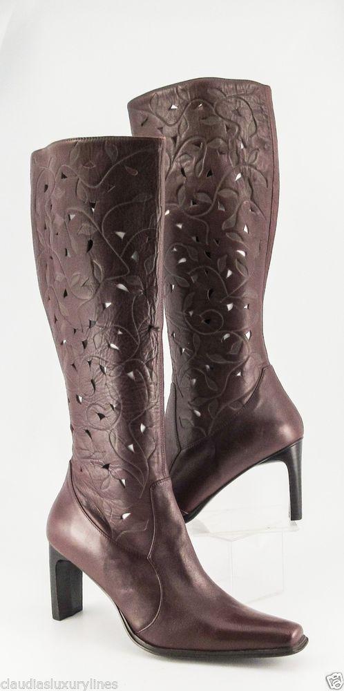 New Mia Deacon Mahogany Brown Leather Tall Boots High Heels Square Toe 8  Medium