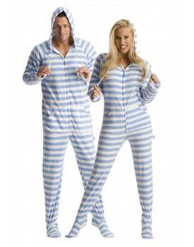 'Blue Steel' Adult Footed onesie Pajamas