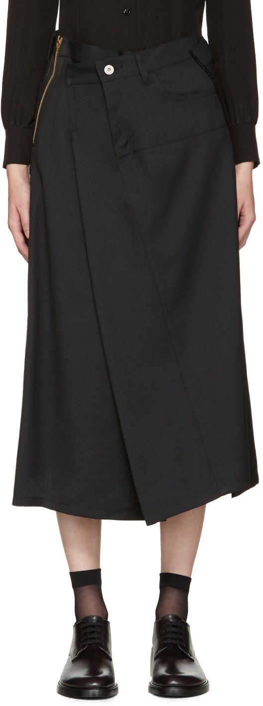 JUNYA WATANABE Black Asymmetric Skirt. #junyawatanabe #cloth #skirt