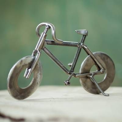 Peruvian Handcrafted Recycled Metal Bicycle Sculpture, 'Eco-Bicycle'