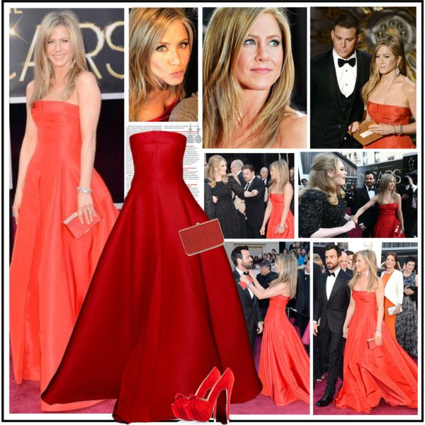 Jennifer Aniston at the 2013 Academy Awards, Feb 24 by robilollo on Polyvore featuring Christian Louboutin, Neil Lane, Salvatore Ferragamo, oscar, fashion style, celebrity style, jennifer aniston, red carpet, get the look and red carpet look