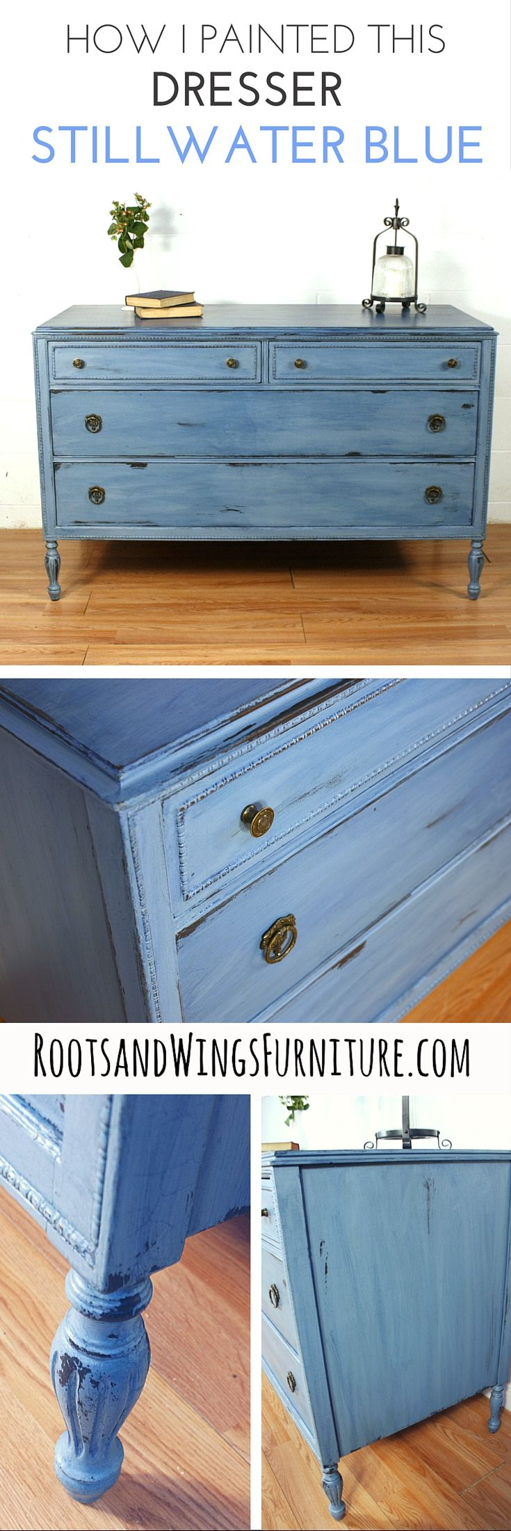 A dresser painted in General Finishes Stillwater Blue Chalk Paint, color washed with Coastal Blue Milk Paint.