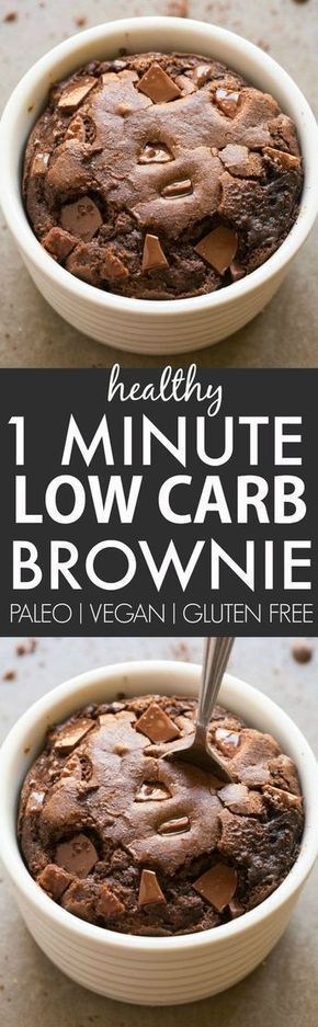 Healthy 1 Minute Low Carb Brownie- Oven option too- Moist, gooey and tender on the outside, it's the perfect snack, dessert or treat to enjoy anytime- Packed with protein and completely sugar free and grain free! {vegan, gluten free, paleo recipe}- thebigmansworld.com