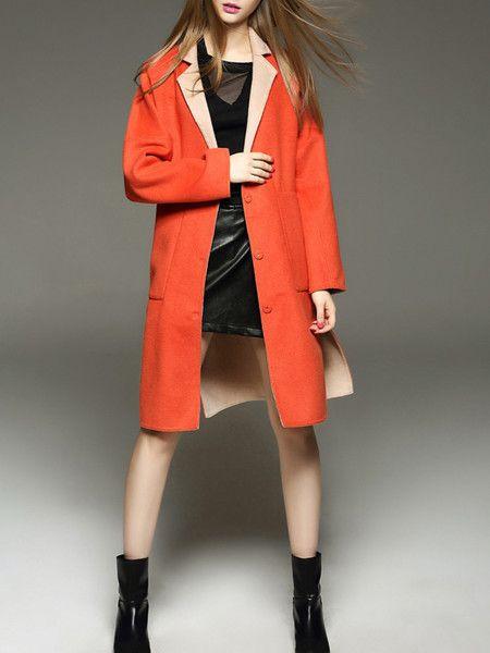 Orange Color-block Wool Long coat