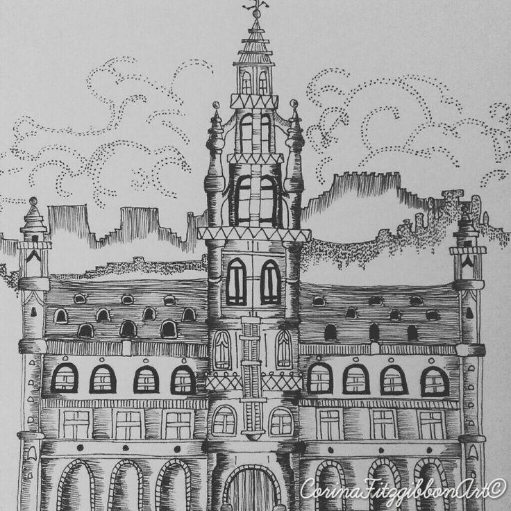 Grand Place || Brussels || Belgium || Travel || Pen Drawing || illustration || Wanderlust || Explore || Original ||  CorinaFitzgibbonArt© All rights reserved.