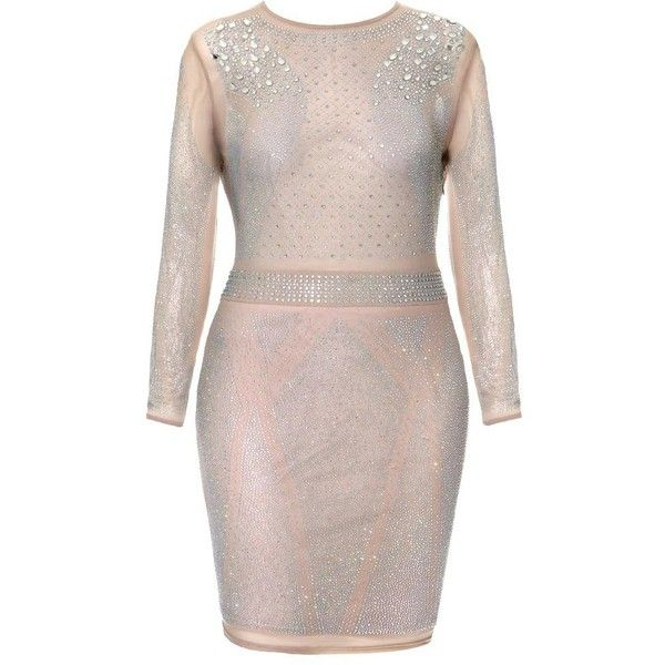 Plus Size Jeweled Sheer Nude Bodycon Dress ($50) ❤ liked on Polyvore featuring dresses, plus size long sleeve dresses, bodycon mini dress, sexy body con dresses, sexy short dresses and plus size mini dresses