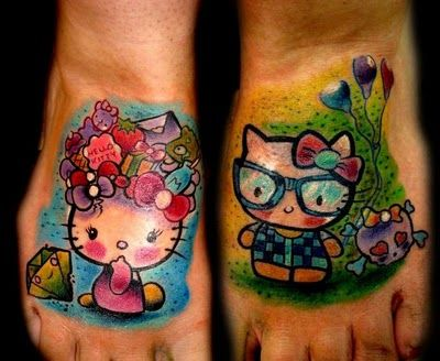 hello kitty feet tattoos - I love the one on the right with the nerd glasses and skull!