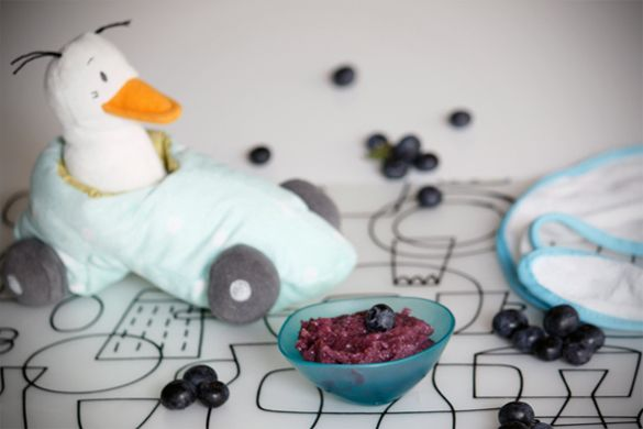 Apple, blueberry & broccoli puree  Suitable from 4 months  {caution when using cinnamon as it may be an allergen}  from littlefoodies.se