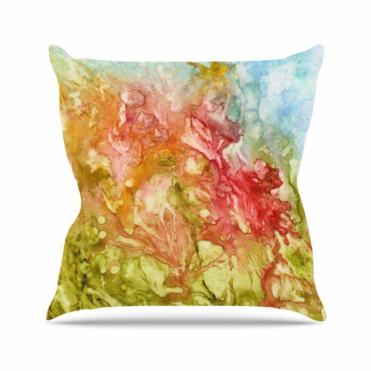 "Rosie Brown ""Fantasy Garden"" Yellow Painting Throw Pillow"