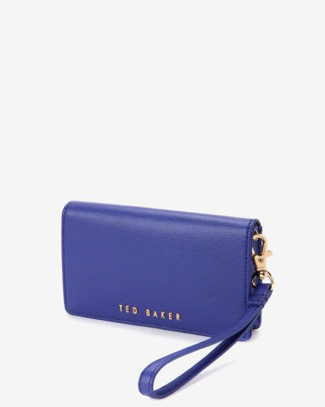 Crosshatch leather phone sleeve - Blue | Gifts for Her | Ted Baker UK