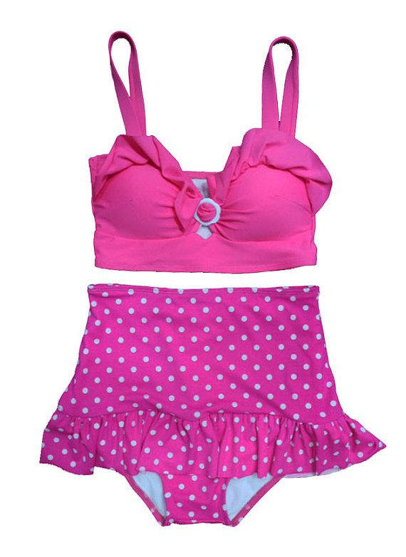 Pink Polka dot Retro High Waisted Swimsuit Pink Top by venderstore, $39.99