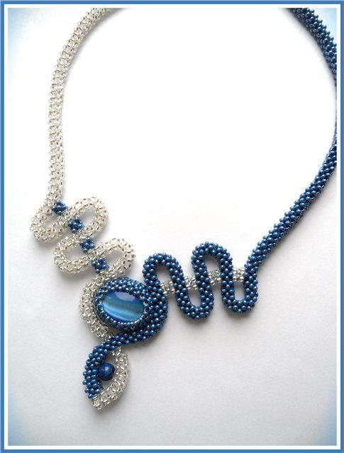 "Колье ""Голубая причуда"" | biser.info - всё о бисере и бисерном творчестве"