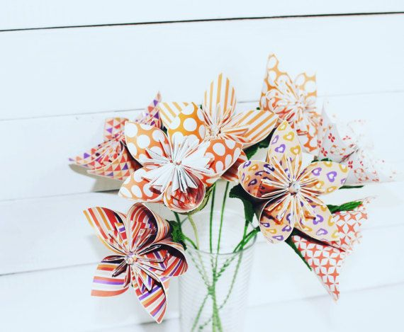 Red Style Origami Wedding Paper Flowers paper by moniaflowers