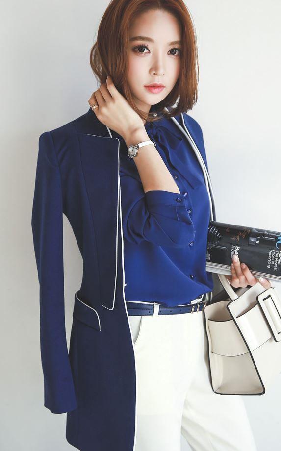 StyleOnme_Ribbon Tied Blouse #louisangel #blouse #tie #ribbon #ribbontied #blue #navy