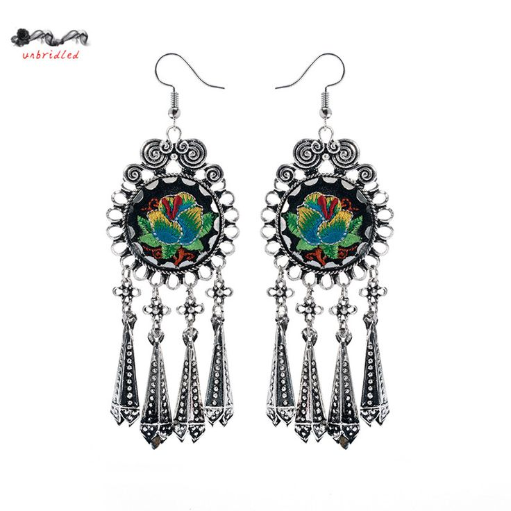 Antique Silver Bohemia Flower Colorful Beads Tassel Vintage Earrings For Women Teens Girls 2016 New Jewelry Bijouterie