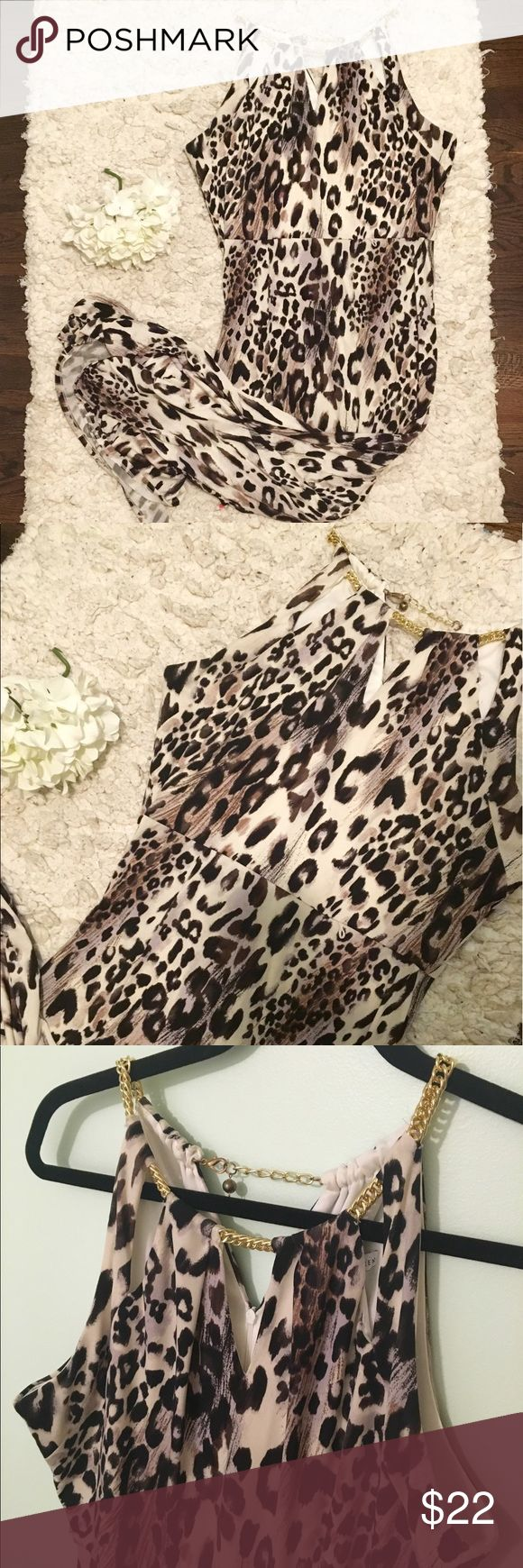 Sandra Darren leopard maxi dress Worn once, excellent condition. Beautiful gold chain detailing at neckline, back zipper, front slit that reaches to the knee. Stretch fabric, size 10. Sandra Darren Dresses Maxi