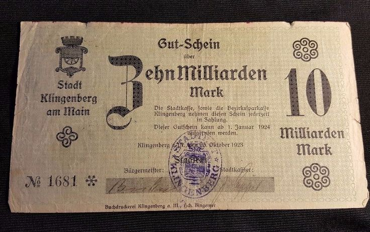 1923 Gut-Schein Behn Milliarden 10 mark German money