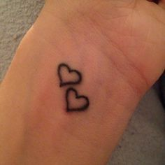 outer wrist tattoos for girls two hearts - Google Search