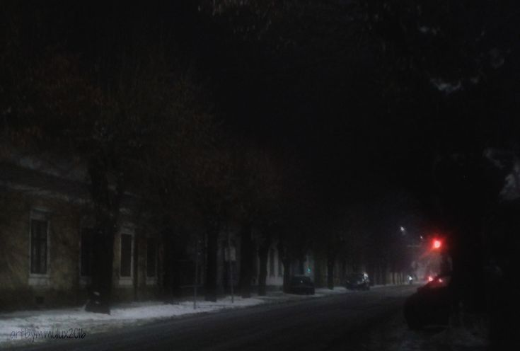 Winter Night photography by mimulux patricia no a wintry side road in Keszthely, Hungary