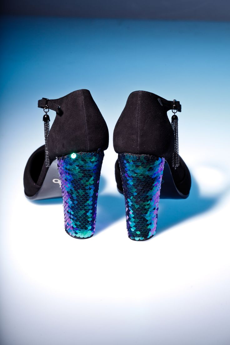 Black suede shoes with High block heels in metallic blue Sequins by Pleasemachine. Chain tassels on the side buckles for your ankle accessory