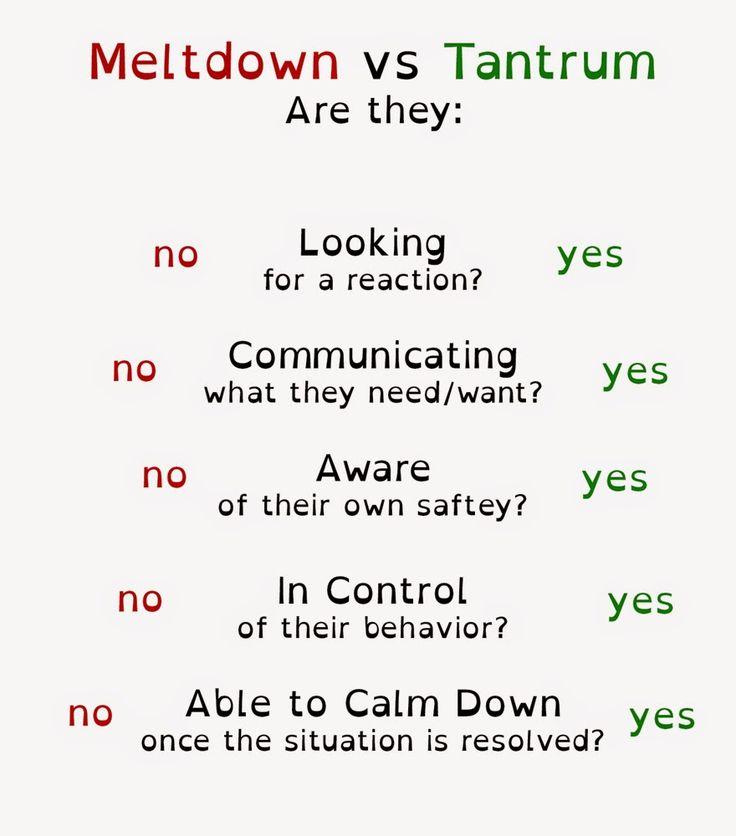 Image result for tantrum vs meltdown