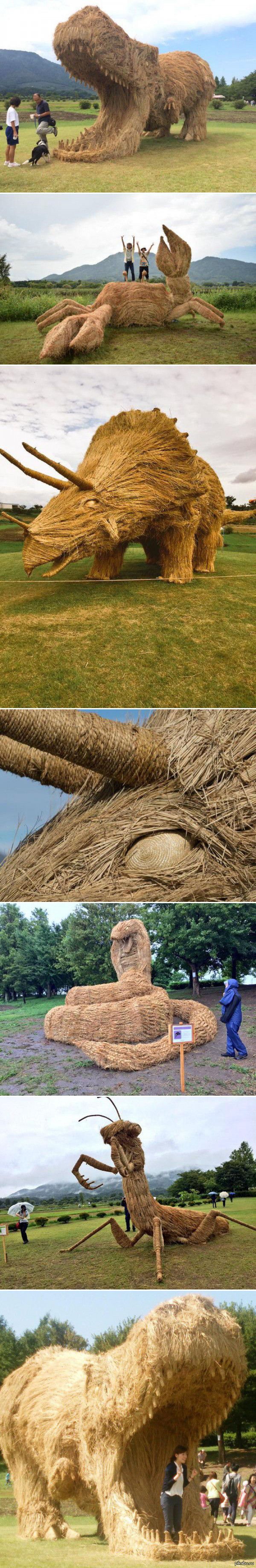 festival in Japan.sculptures made from rice stalks