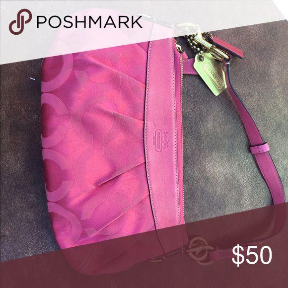 Authentic Pink coach purse / shoulder bag Authentic pink coach purse / shoulder bag with signature C design. Asking $50 or best offer Coach Bags Shoulder Bags