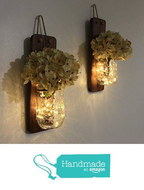 Tennessee Wicks Rustic Mason Jar Wall Sconce Set of Two, Complete with Two Hydrangeas and Two LED Fairy Light Strands from Tennessee Wicks https://smile.amazon.com/dp/B06XPQN1YN/ref=hnd_sw_r_pi_dp_n4SBzbQBD2QVH #handmadeatamazon