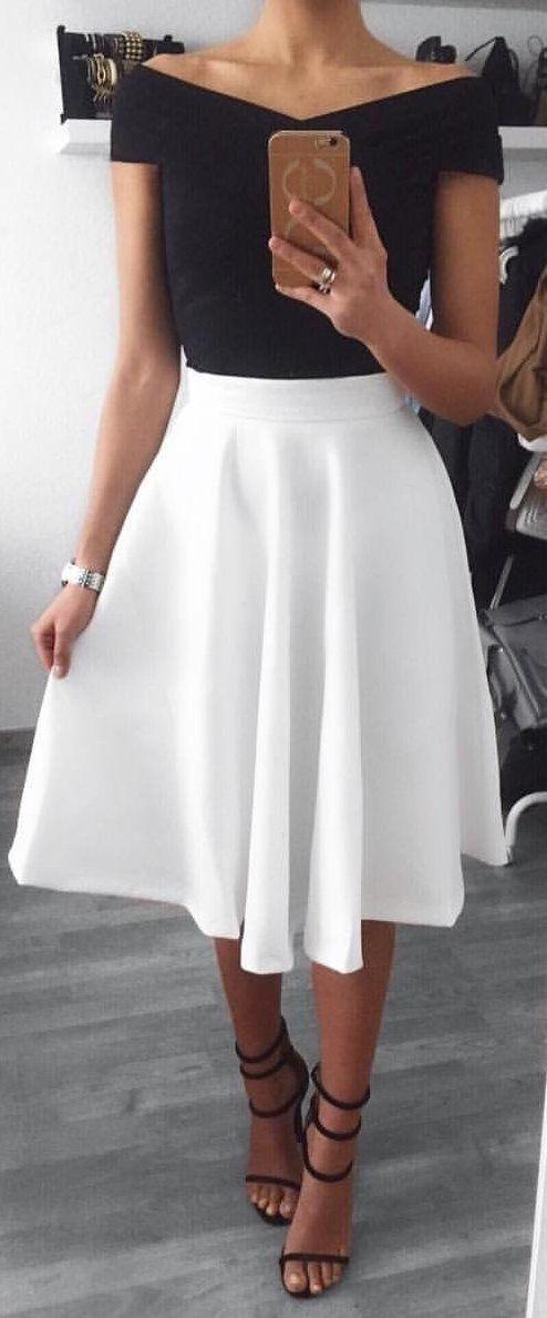 #winter #outfits white v-neck off-shoulder midi dress