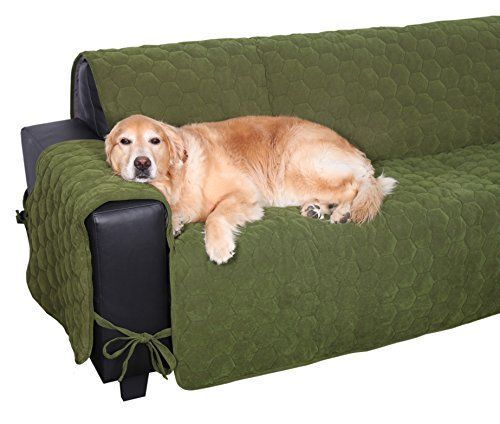 Floppy Ears Design Waterproof Sit And Stay Micro Suede Pet Couch Protector  Loden