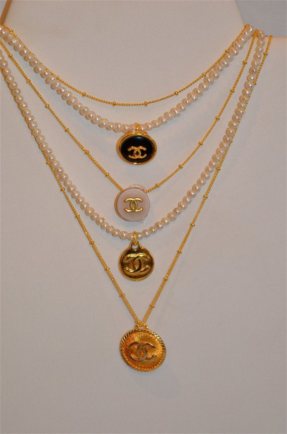 Vintage Chanel Button Necklaces By Lovelucejewelry On Etsy
