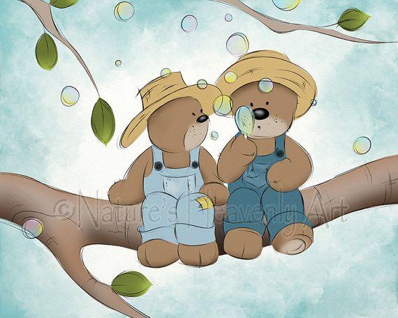 16 x 20 Boys Room Art Print Teddy Bear Nursery Wall Decor