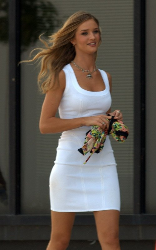 "Rosie Huntington-Whiteley white mini dress (""Transformers ..."