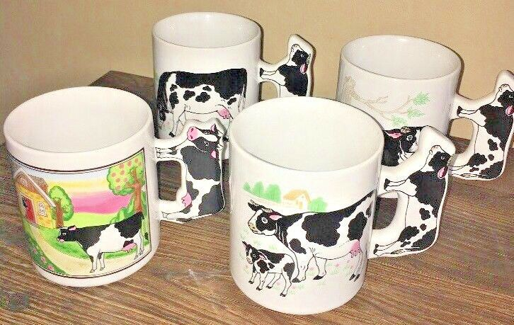 Lot Of 4 Collectible Spotted Cow Steer Farm Kitchen Coffee Mug Cups Decor Coffee Kitchen Kitchen Bar Decor Farm Kitchen
