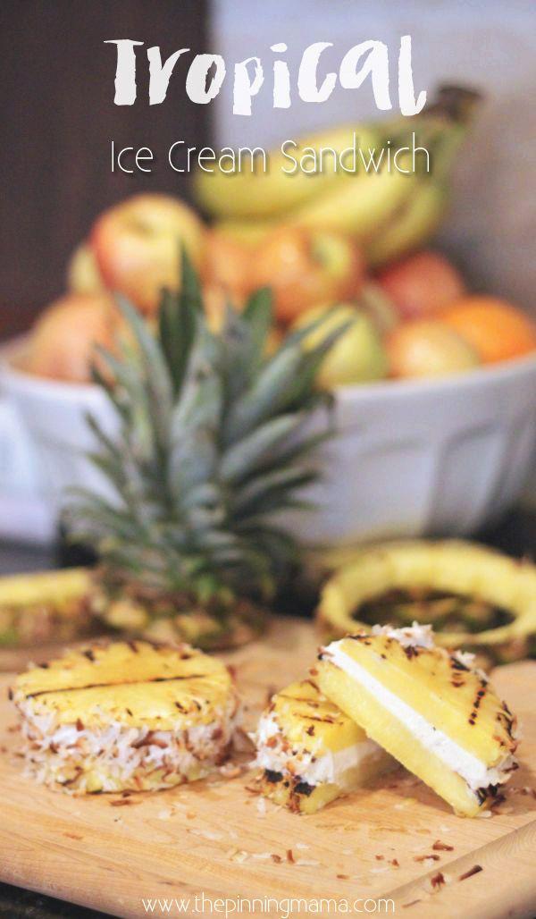 Grilled Pineapple Ice Cream Sandwich