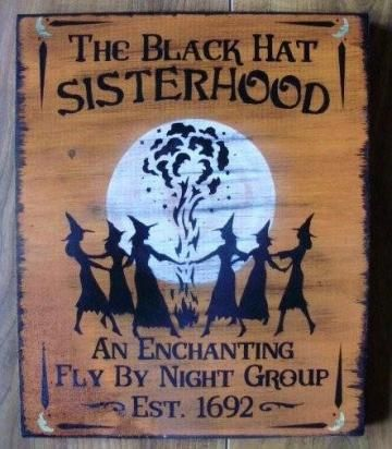 Witchcraft primitive witch Black hat Sisterhood sign Primitives Witches Wiccan Pagan Halloween decoration coven wicca magic sister by SleepyHollowPrims for $27.00