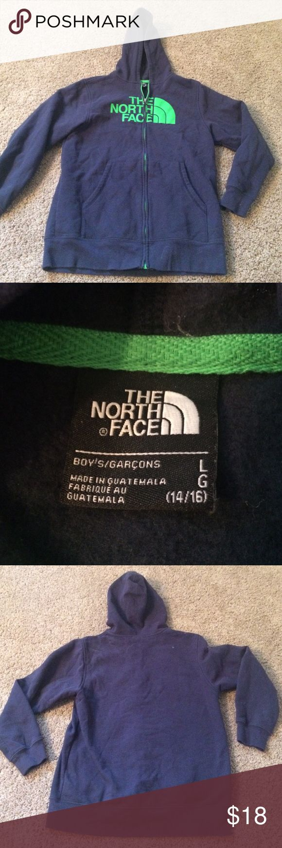 The north face boys Sz lge zipper hoodie jacket The north face navy blue boys size large zip front hoodie The North Face Shirts & Tops Sweatshirts & Hoodies