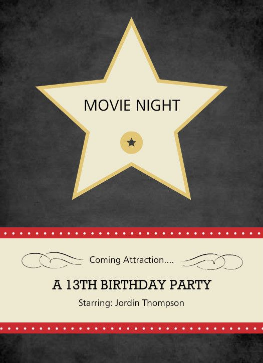 33 best Movie invitations images on Pinterest Movie night - movie invitation template free