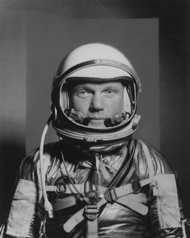 John Glenn, Project Mercury astronaut, 1959, also first American to orbit the earth 50 years ago today