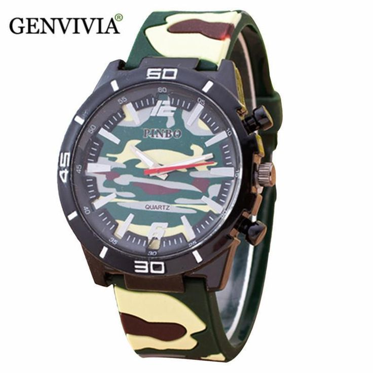 Fashion men PU leather watch Camouflage quartz on sale military watches