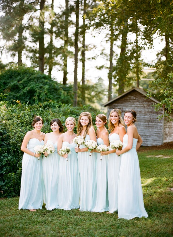 Beautiful long, blue bridesmaids gowns | Anna Routh Photography