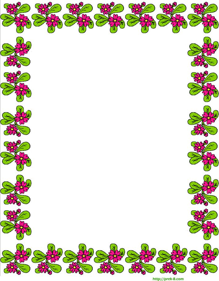 Free printable spring cute red flowers border writing for Cute designs for paper