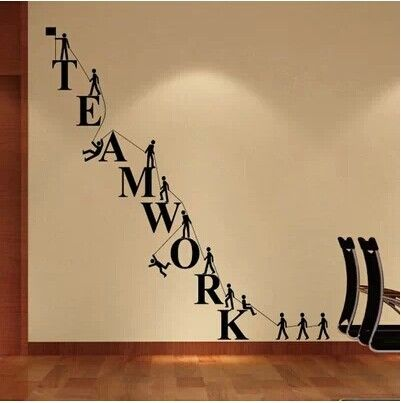 office wall decor. teamwork letters wall sticker removable decal vinyl novelty office decor white o