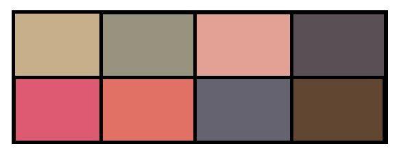 Самые мягкие цвета. Подходят для базовой одежды, бизнес- гардероба, верхней одежды, обуви.  Кроме обычной серо- коричнево-синей гаммы я отнесла в эту палитру розовые цвета, поскольку они достаточно смягченные и смотрятся мягче чем яркие цвета палитры. Кроме того, теплый розовый может быть базовым цветом, так как много с чем сочетается.
