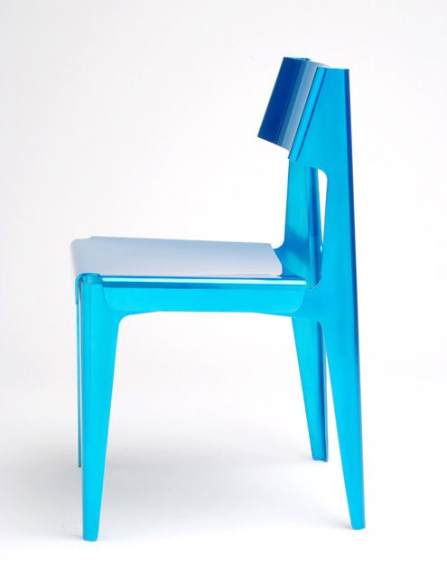 Aluminium Shell Chair/Private Commission | Limited edition aluminium version of the original plywood Shell chair.  |  Date - 2007 Manufacturer - Isokon Plus Materials - Polished aluminum with clear blue lacquer Dimensions - 445 × 470 × 800 Edition - 20